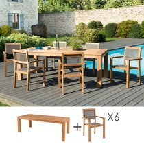 Ensemble table 220 cm + 6 fauteuils en teck et textilène - GARDENA