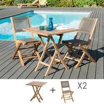 Ensemble en teck table carrée 70x70 cm + 2 chaises pliantes - GARDENA