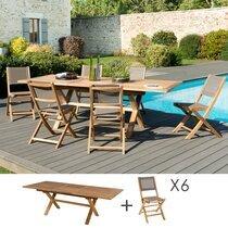 Ensemble en teck table pieds croisés + 6 chaises pliantes - GARDENA