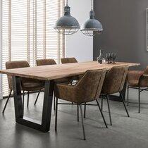 Table 200cm ép 38 mm  en acacia massif et inox brossé noir - TRUNK