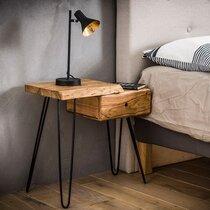 Table d'appoint avec tiroir à droite en acacia massif - ALONG