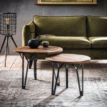 Lot de 2 tables basses rondes 60 et 50 cm en bois recyclé