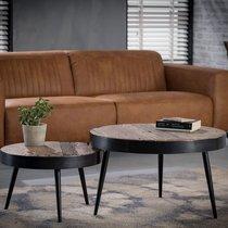 Lot de 2 tables basses rondes 75 et 55 cm en bois et métal