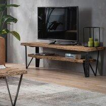 Meuble TV 2 étagères 160x40x45 cm en bois recyclé et métal