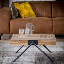 Table basse carrée 70 cm en teck recyclé et métal