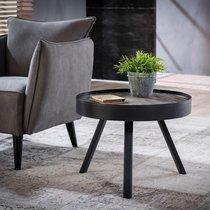 Table basse ronde 60 cm en teck grisé et métal