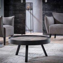 Table basse ronde 75 cm en teck grisé et métal