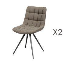 Lot de 2 chaises 46x61x82 cm en tissu jeans beige
