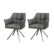 Lot de 2 fauteuils 63x58x81 cm en tissu noir