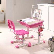 Bureau 70 cm, chaise et lampe blanc et rose - LUFFY