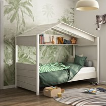 Lit cabane 90x200 cm décor chêne blanchi et blanc