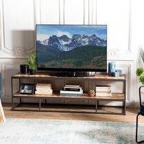 Meuble TV 160 cm avec double plateau en teck et métal - RONAN