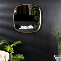 Miroir 70x70 cm en aluminium doré - JOSY