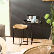 Lot de 2 tables d'appoint ovales en aluminium doré et noir - JOSY