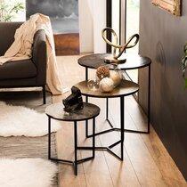 Lot de 3 tables gigognes en aluminium doré, noir et gris - JOSY