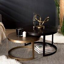 Lot de 2 tables basses 75 et 65 cm en aluminium doré et noir - JOSY