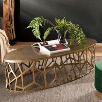 Table basse ovale 150x60x40 cm en aluminium doré - JOSY