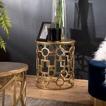 Table d'appoint ronde 43x48 cm en aluminium doré - JOSY
