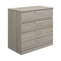 Commode 4 tiroirs 81 cm décor chêne grisé - HEVA