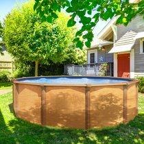 Piscine hors-sol acier aspect bois diamètre 3,95m - OSMOSE