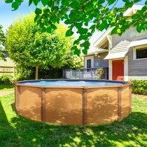 Piscine hors-sol acier aspect bois diamètre 4,90m - OSMOSE