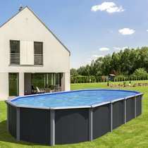 Piscine hors-sol acier aspect bois 7,60 x 3,95m anthracite - OSMOSE