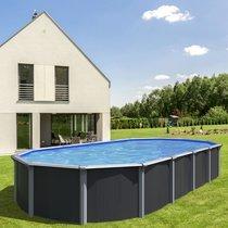 Piscine hors-sol acier aspect bois 5,20 x 3,95m anthracite - OSMOSE