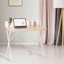 Bureau 90x50x84 cm blanc et naturel - FALLON