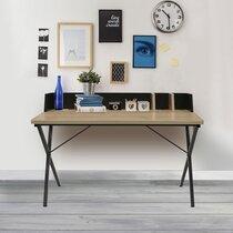 Bureau 90x50x84 cm gris et naturel - FALLON