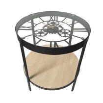 Table basse avec horloge 40,5x39 cm noir et naturel