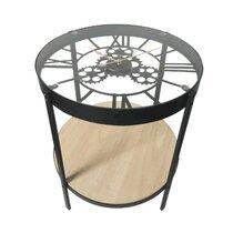 Table basse avec horloge 50,5x51 cm noir et naturel