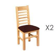 Lot de 2 chaises en chêne blanchi et assise en tissu chocolat
