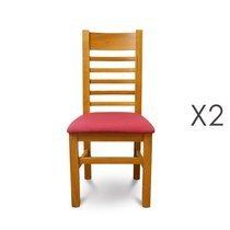 Lot de 2 chaises en chêne clair et assise en tissu rouge