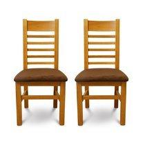 Lot de 2 chaises en chêne clair et assise en tissu chocolat