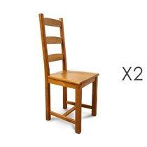 Lot de 2 chaises en hêtre et assise bois teinte chêne moyen
