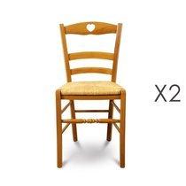 Lot de 2 chaises en hêtre teinté chêne doré