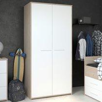 Armoire 2 portes blanc et chêne - DISCREE