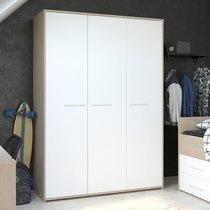 Armoire 3 portes blanc et chêne - DISCREE