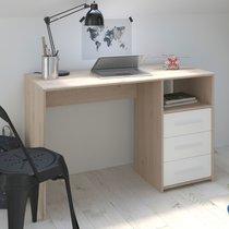 Bureau 3 tiroirs 120 cm blanc et chêne - DISCREE