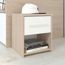 Chevet 1 tiroir blanc et chêne - DISCREE