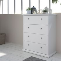 Commode 4 tiroirs 85 cm blanche - SHALLO