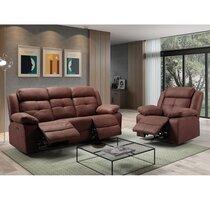 Canapé 3 places + fauteuil de relaxation chocolat