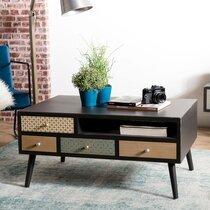 Table basse 8 tiroirs 90 cm en bois multicolore