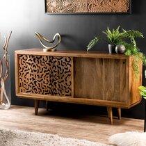 Buffet 2 portes en manguier décor en bois chantourné - MANGUY