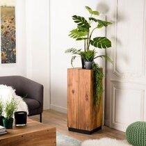 Table d'appoint carrée 41x41x93 cm en bois exotique