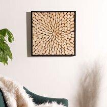 Tableau carré 60 cm en branches de teck et cadre noir
