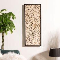 Tableau 100x40 cm en branches de teck et cadre noir