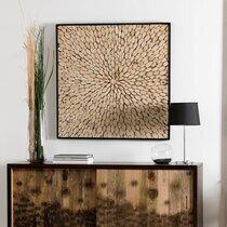 Tableau carré 100 cm en branches de teck et cadre noir