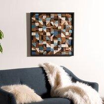 Tableau carré 73 cm en teck recyclé multicolore - TEAKY