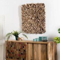 Tableau carré 90 cm en bois flotté naturel - CLARIA